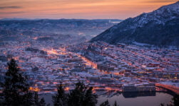 A panorama of Bergen in twilight