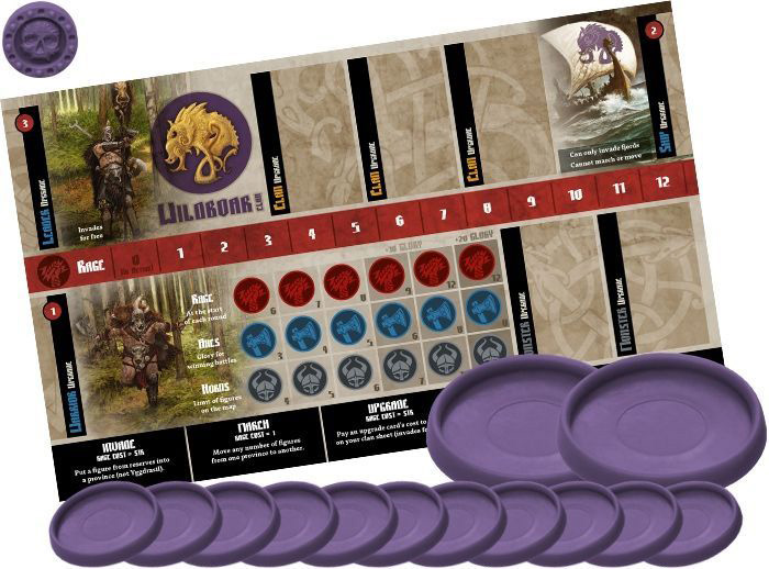 The Blood Rage game board and playing pieces