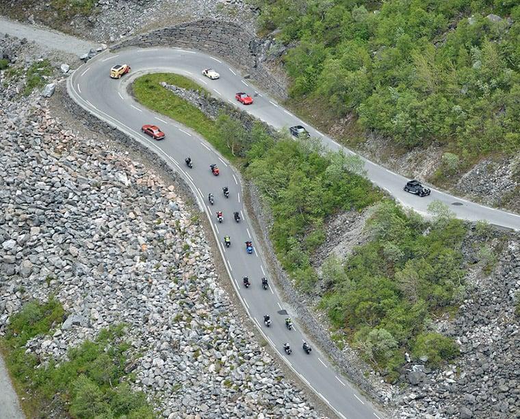Classic car rally at Trollstigen in Norway