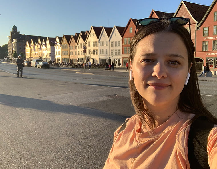 Emma works as a tour guide in Bergen, Norway