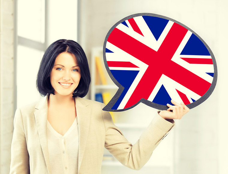 Scandinavian woman holding a speech bubble featuring the Union Flag of the UK