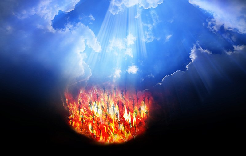 An image of ghosts in heaven and hell