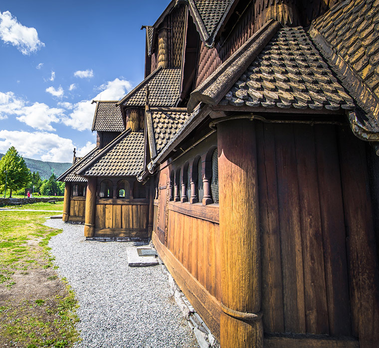 An exterior wall of Norway's Heddal Stave Church