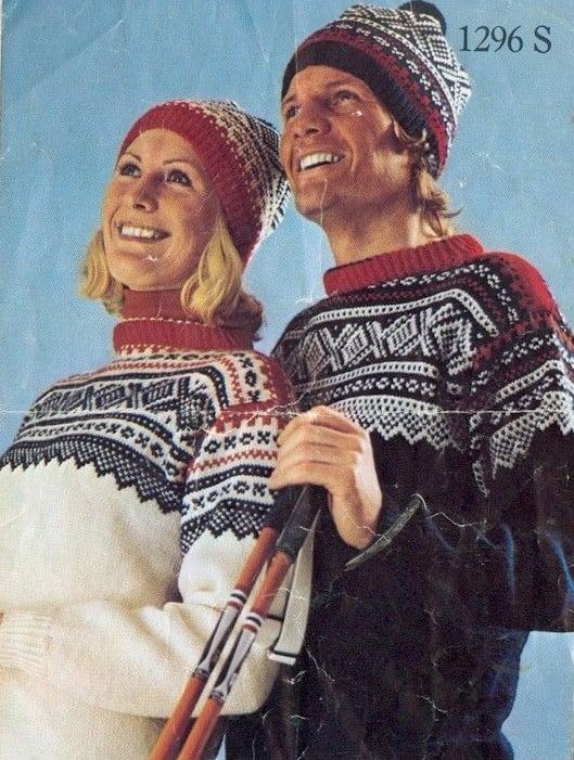 Old knitting pattern artwork for the Norwegian Marius sweater