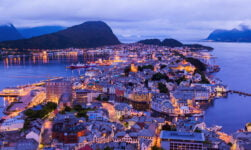 Norway panorama of Ålesund at dusk