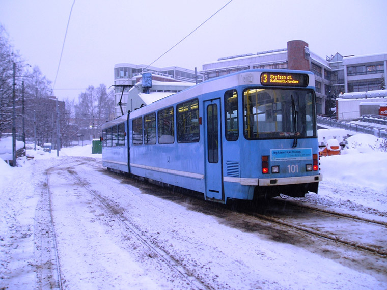Oslo tram in the winter