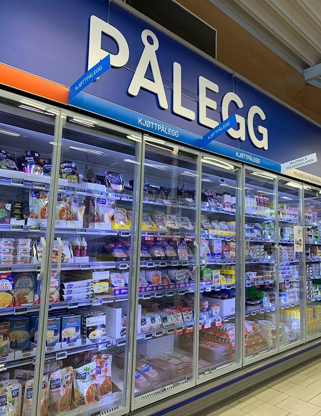Pålegg refrigerated section in a Norwegian supermarket