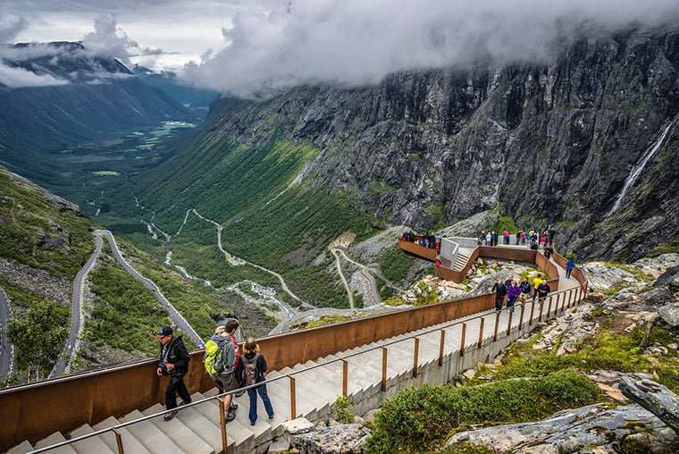 The spectacular walkways and viewing platforms at the top of Trollstigen road in Norway