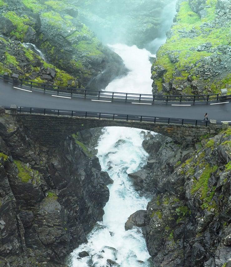 Stigfossen waterfall bridge at Trollstigen in Norway