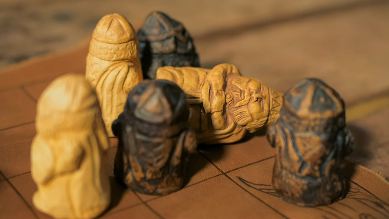 Tafl board game pieces