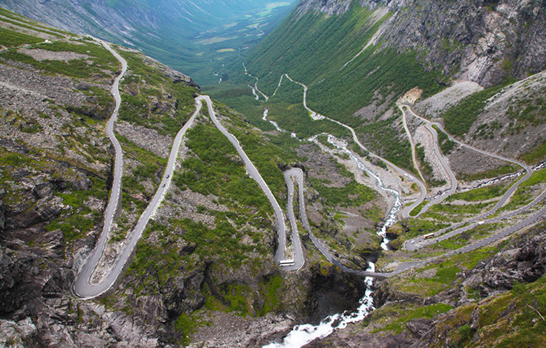 The Trollstigen mountain pass in western Norway