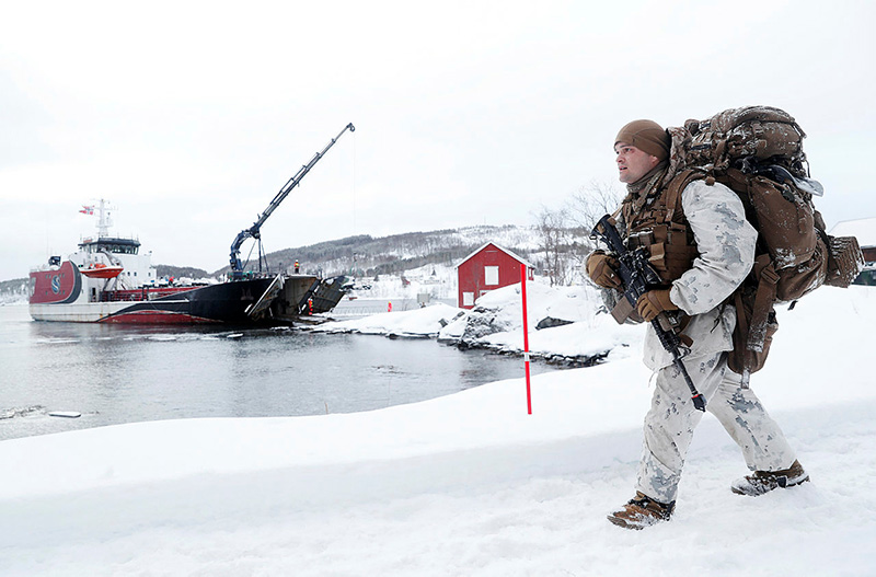 Marines from the US Marine Corps during an amphibious operation on the winter exercise Cold Response 2020 in Norway