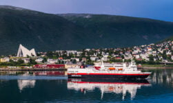 Hurtigruten ship sailing in Tromsø. Norway