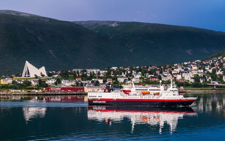 Hurtigruten ship sailing in Tromsø. Norway