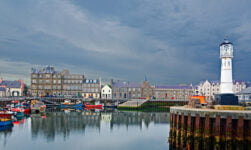 Kirkwall harbour in Orkney, Scotland