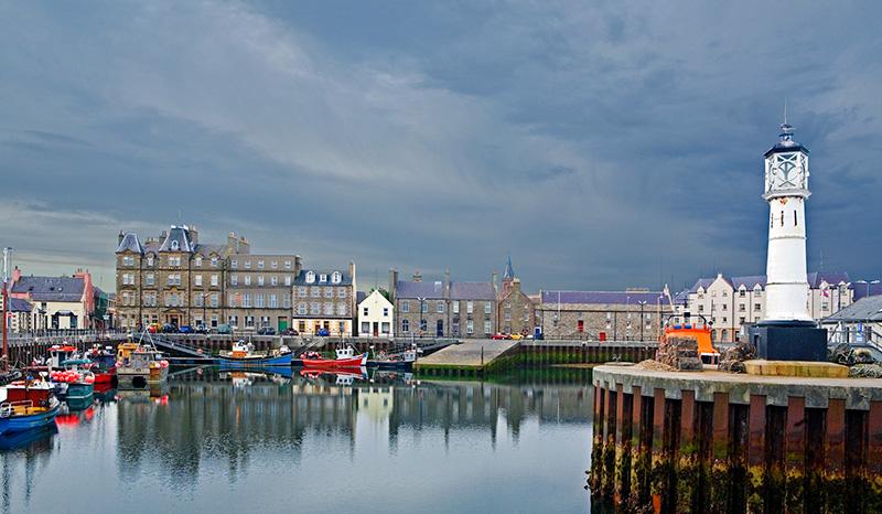 Kirkwall harbour in Orkney, Scotland