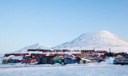 Longyearbyen cityscape in the winter