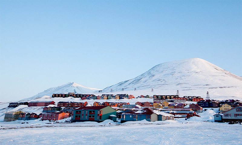 Longyearbyen cityscape in the winter