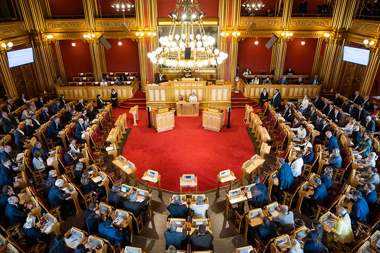 Members inside Stortinget, the Norwegian Parliament