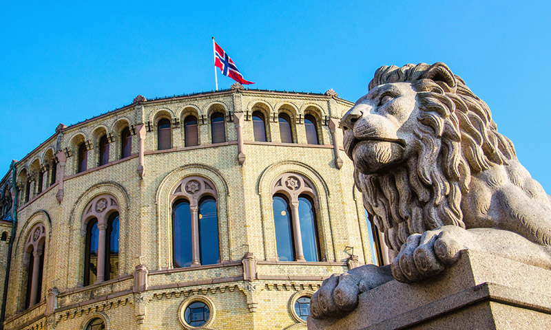 Lion statue outside the Norwegian parliament building in Oslo, Norway