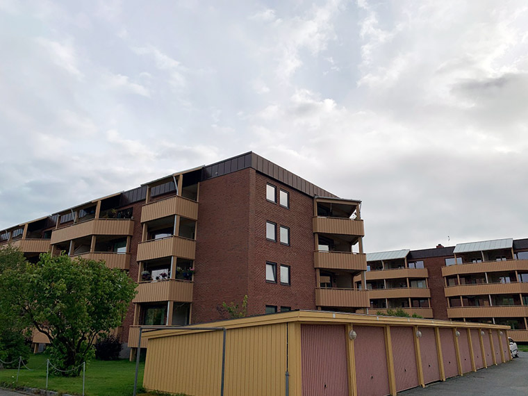 Apartments in Øya, part of Trondheim, Norway. Operated as a borettslag, a Norwegian housing cooperative.