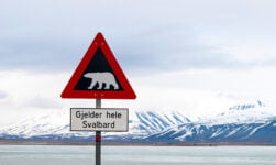 The polar bear warning sign in Longyearbyen, Svalbard