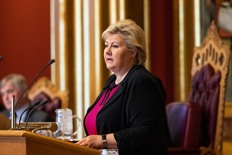 Norway Prime Minister Erna Solberg speaking at the Norwegian Parliament