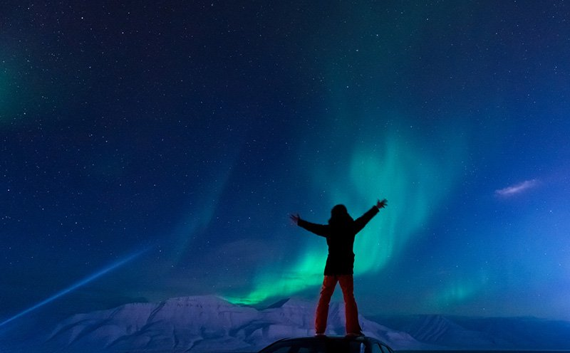 Northern lights display in Svalabrd, Norway