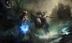 Illustration of the Viking eternal battle with Thor and Loki