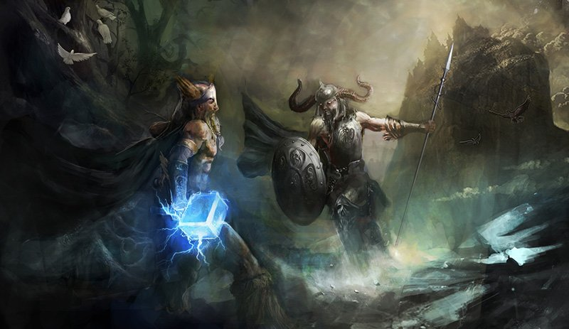 Illustration of the Viking eternal battle with Thor and Loki