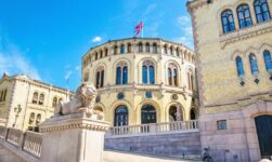 The exterior of the Norwegian parliament building in Oslo, Norway