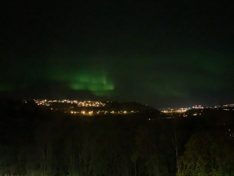 The northern lights above Trondheim, Norway, in October 2020