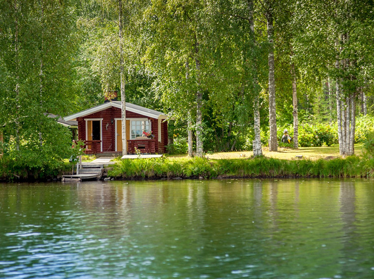 A Finnish cabin by a lake