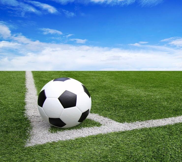Football on a corner spot