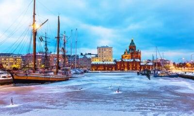 Frozen harbour in Helsinki, Finland