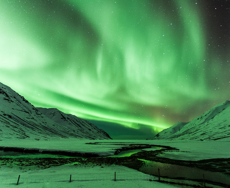 A full sky of green northern lights