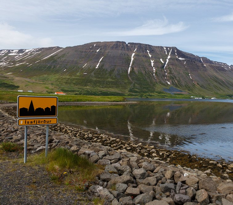 A road sign at the entrance to Isafjordur, Iceland