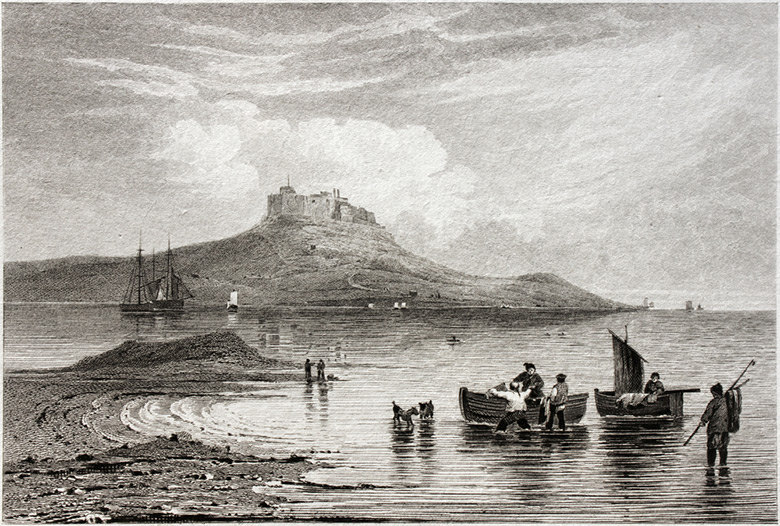 A drawing of Lindisfarne castle and fishing boats