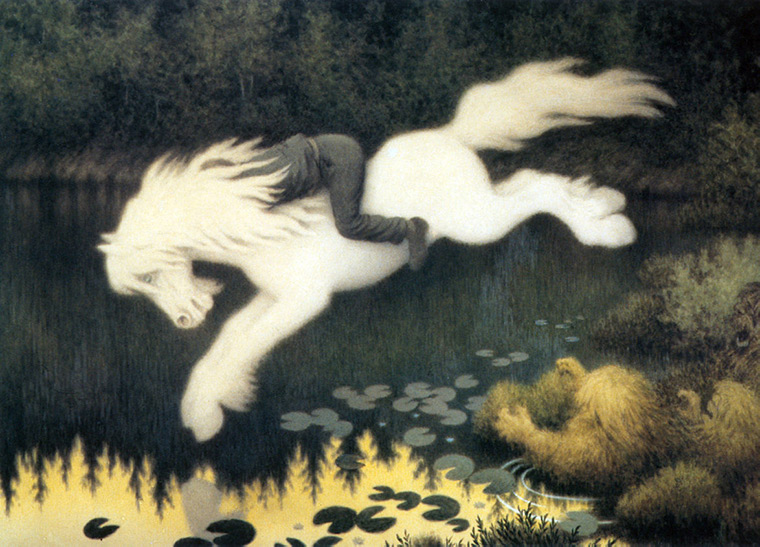 The nøkken appearing as a white horse in Norway