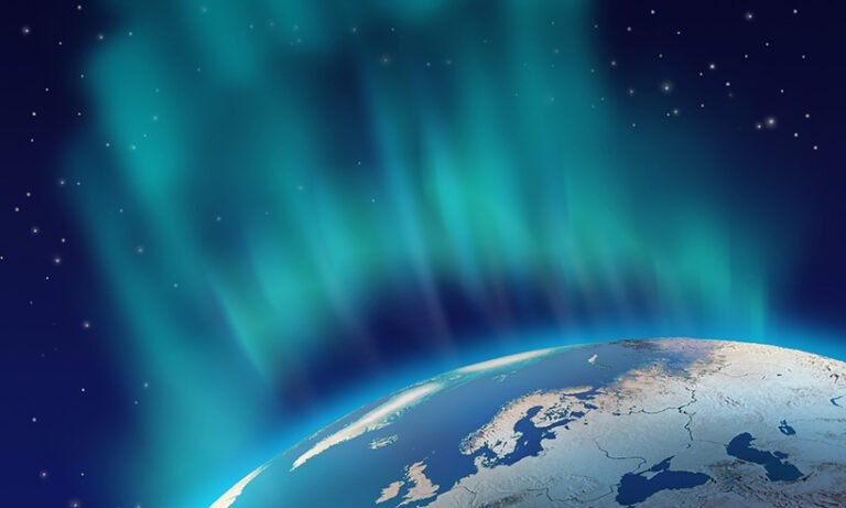 The northern lights above northern Europe
