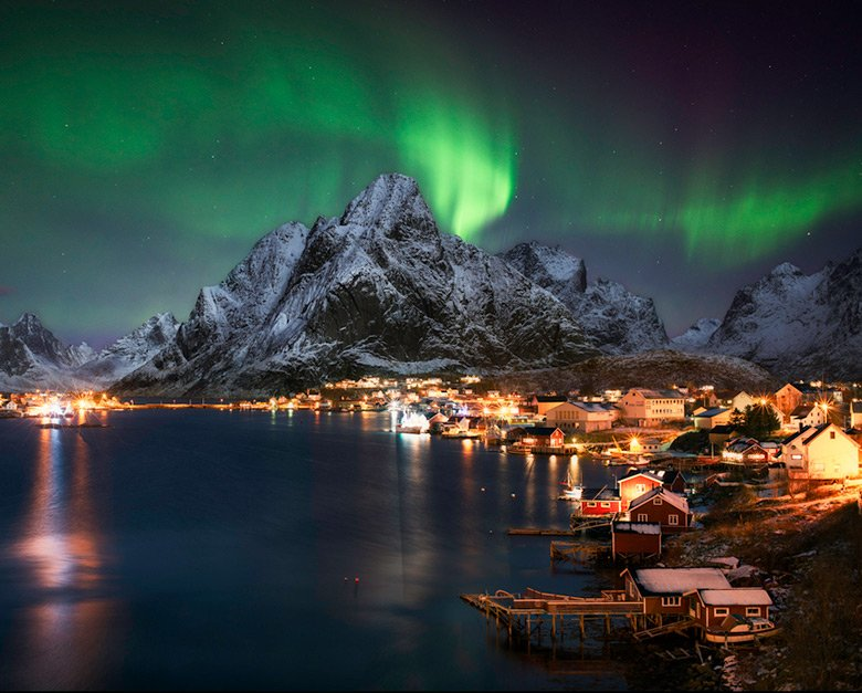 A northern lights display above Reine in Norway's Lofoten islands