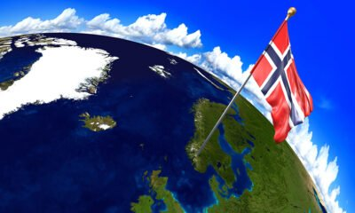 Norway flag on planet earth