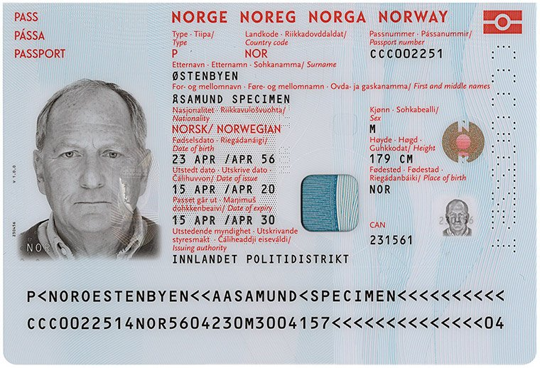 Personal details page in the Norwegian passport