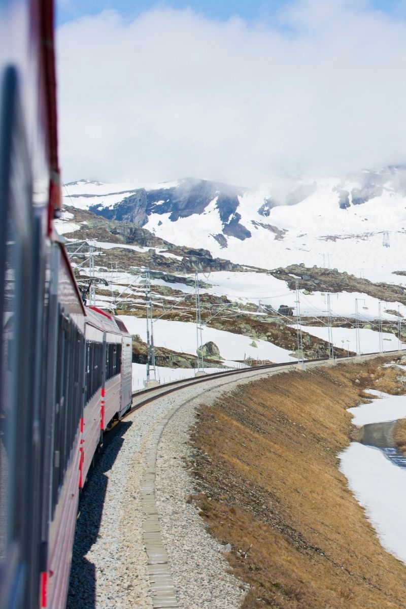 View of snowy mountains from the Oslo to Bergen railway