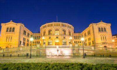 The Norwegian Parliament building in Oslo, Norway