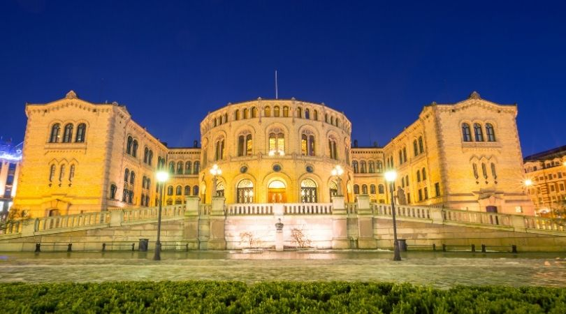 The Norwegian Parliament building in Oslo, Norway