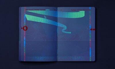 The new Norwegian passport under UV light