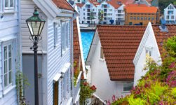 Historic white houses in old Stavanger, Norway