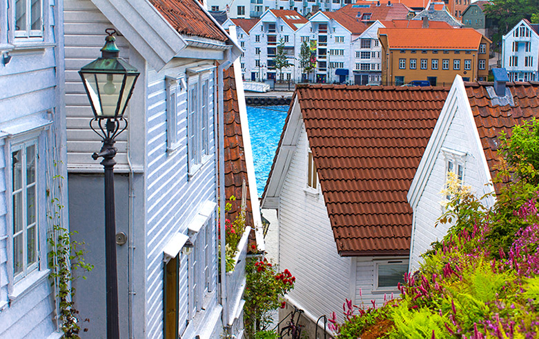 Historic white houses in old Stavanger, Norway