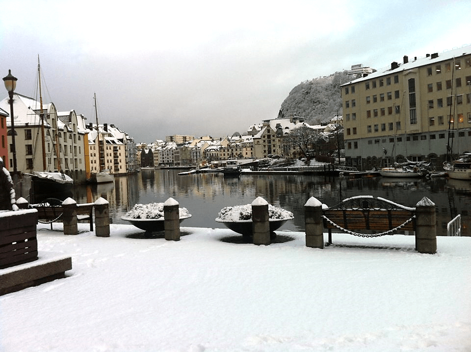 Ålesund, Norway, with a dusting of snow